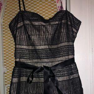 Bcbgmaxazaria tiered blck dress w/ feather accent